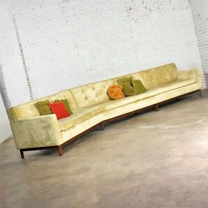 14' Angled Mid-Century Modern Green Velvet Sofa Style Dunbar by Edward Wormley