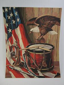 Vintage Paint by Number Eagle Drum & American Flag Painting Patriotic Merica PBN