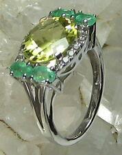 HSN-Sima K 4.62ct Apple Quartz, Colombian Emerald & White Topaz 925 Ring SZ 7