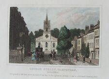Ancienne église imprimer Hampstead Street London c1840's gravure du 19ème siècle
