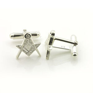 Masonic Cufflinks Depicting the Square & Compass Symbols Silver Plated