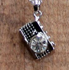 "Austrian Crystal Black Silver Camera Necklace 18"" Adjustable Chain Photographer"