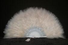 "MARABOU FEATHER FAN - BEIGE Feathers 12"" x 20"" Sexy/Fans/Burlesque/Bridal"