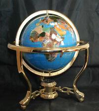"14"" Tall Beautiful Marine Blue Table Top Gemstone Globe with 3 Leg Stand"