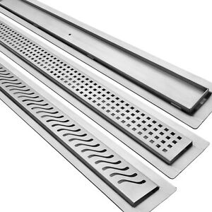 Stainless Steel Linear Drain for Curbless Shower, GRATE & FLANGE