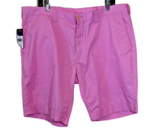 Polo Ralph Lauren Men's Flat Front Solid Pink Cotton Blend Shorts 40