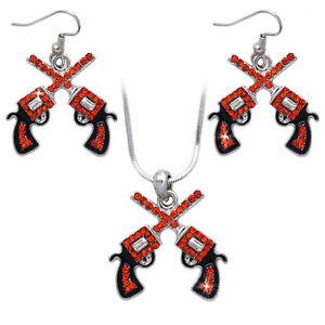 Cowboy Cowgirl Crossing Orange Revolver Gun Pendant Necklace Hook Earrings Set