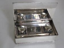 Antique Silver Plate Inkwells in Silver Plate Box
