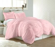 Chezmoi Collection 3-Piece Shabby Chic Ruched Ruffle Duvet Cover Set, Pink