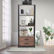 4-tier Bookshelf Open Shelves Storage and two Drawers Display Unit Home Office