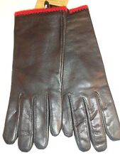 Ladies Angora/Lambswool Lined Genuine Leather Gloves,Black,M