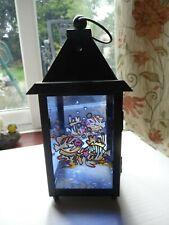 Black metal & glass lantern-shaped candle holder-tropical fish nautical