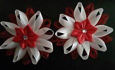 Girls handmade hair bobbles red and white