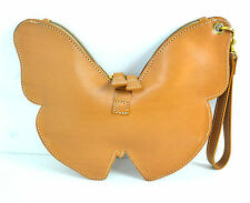 UNIQUE SHIZUE BROWN GENUINE LEATHER CLUTCH HANDBAG SMALL BAG MADE IN ITALY