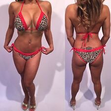Connie's Animal Print Bikini with Red Piping and Red Lace Bikini S/M