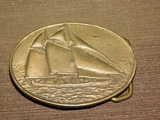 Vintage Nautical Boat Bts Solid Brass Usa Sailing Ship Belt Buckle