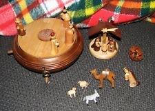 Christmas Nativity Scene Music Box Italy Hand Carved Wood - Needs Regluing