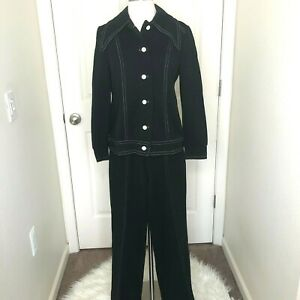 VTG 1970s Womens S Black 2-Pc Pantsuit White Contrast Stitching Big Point Collar