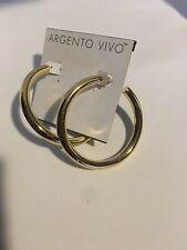 "Argento Vivo Thick Hoop Earrings Gold Color 2.25"" NEW"