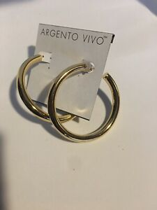 """Argento Vivo Thick Hoop Earrings Gold Color 2.25"""" NEW"""