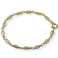 9CT GOLD OVAL BRACELET CURB ROUND BAR LINK FANCY ENGRAVED BANGLE GIFT BOXED