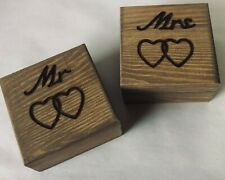 Personalised Engraved Mr & Mrs Wedding Ring Box Boxes Rustic Bearer Marriage