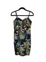 PORTMANS Size 8 Strappy Tropical Palm Floral Body Con Midi Dress Workwear