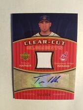 Travis Hafner 2007 UD Clear-Cuts Elements Dual Autograph/Jersey Indians Game Use