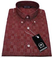 Mens Relco Abstract Geometric Print Shirt NEW Long Sleeve Mod Retro Vintage 60s