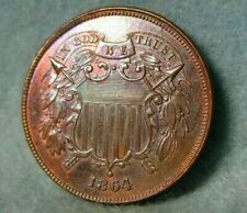 1864 Civil War Era Two Cent Piece Choice Uncirculated United States Coin