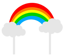 Bright Rainbow & Clouds Cake Decoration Banner Topper New