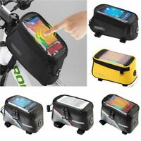 Waterproof MTB Mountain Bike Frame Front Bag Pannier Hiking Mobile Phone Holder