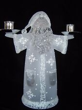 Frosted Acrylic Santa Claus Double Candlestick Holder