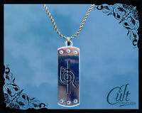 Naruto sterling silver / faux leather necklace with Itachi headband charm