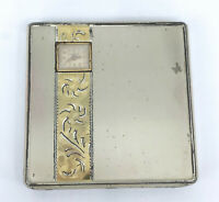 Illinois Watch Case IWCC Powder Rouge Compact Sterling Puff 1943 Engraved Vtg