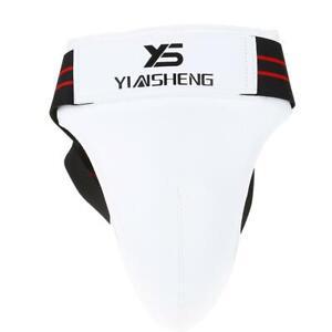 Men Taekwondo Groin Guard Boxing Karate Jockstrap Sanda Crotch Protector White
