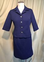 Cute Vintage 60's Navy Blue Poly Textured Knit Skirt Suit Bust 36 Waist 28 to 34