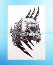 """sugar skull rockabilly psychobilly 8.25""""extra large temporary arm tattoo art"""