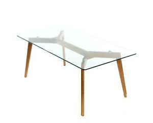 50'S INSPIRED TEMPARD GLASS WITH SOLID OAK LEGS COFFEE TABLE