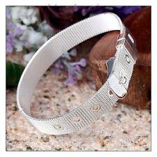 925 Sterling Silver Mesh Strap Belt Buckle Womens Bracelet Free Gift Bag