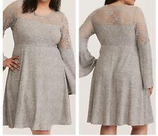 3de286fc43b2 Torrid Gray Bell Sleeve Lace Inset Woven Skater Dress 2x 18 20 #44757