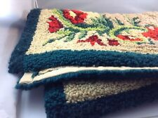 "Floor Rug Vintage Hand Made 34"" x 46"" Area Carpet Latch Hook Floral Tan Green EC"