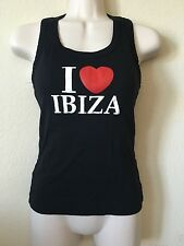 "Planet Black Red ""I Heart (Love) Ibiza"" Racerback Sleeveless Top, Size M"