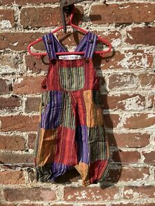 Baby patchwork dungarees age 6-12 Months handmade hippie, boho, festival