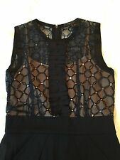 BCBG Max Azria Beige Slip Black Sheer Lace 100% Silk Sexy Cocktail Party Dress 2