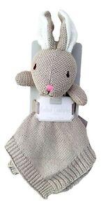 Baby Light Brown/Grey Bunny Plush Knitted Comforter Blanket