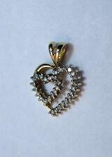 10K Yellow Gold Double Heart Pendant with 31 Diamonds