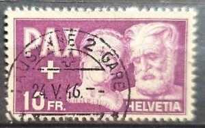 """Schweiz 1945,  Mi 459 """"PAX"""" 10 Franken gestempelt"""