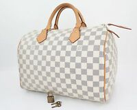 Authentic LOUIS VUITTON Speedy 30 Damier Azur Boston Hand Bag Purse #25895