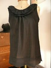 50s 60s Audrey Style Ruffle collar Blouse Top Black sheer size 10